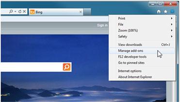 Slika izbornika alata u pregledniku Internet Explorer