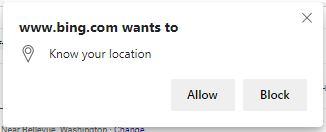 Screenshot of browser asking for location
