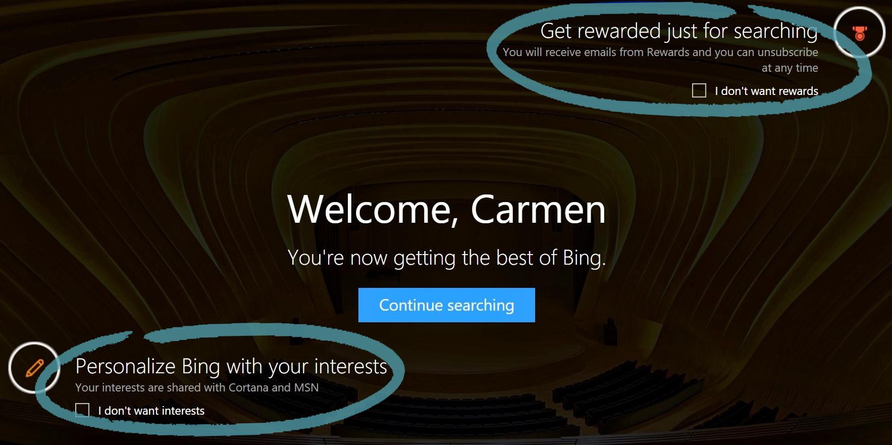 De startpagina van Bing met opties voor Rewards en Interesses.