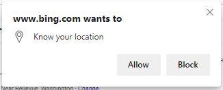 Captura de tela do navegador solicitando a localização