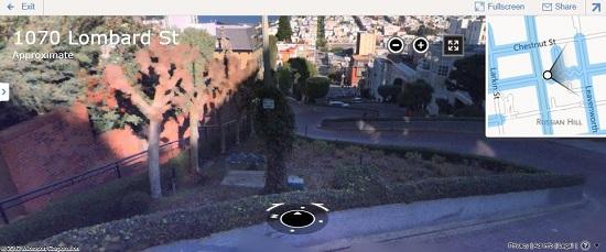 Imagem do panorama Streetside no Bing Mapas