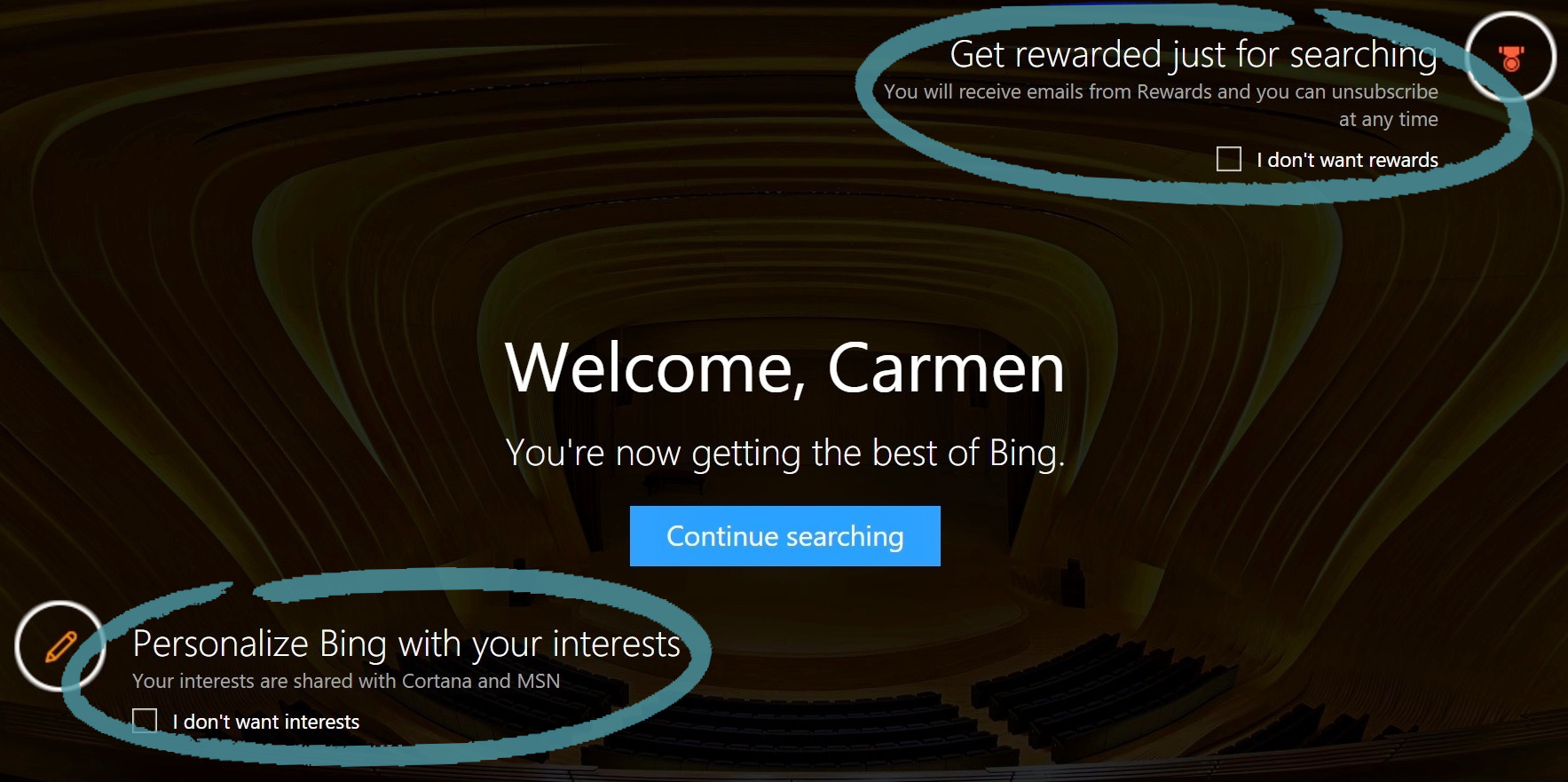 Pagina de pornire Bing cu opțiuni de premii și subiecte de interes