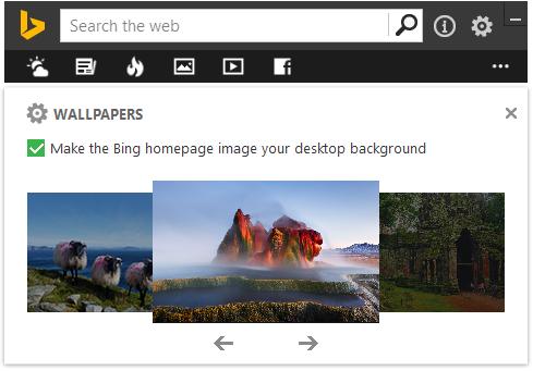 Anzeigen des Bilds des Tages mit Bing Desktop