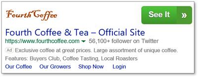 Grüne Schaltfläche mit einem Handlungsaufruf auf der rechten Seite der Anzeige