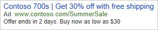 Anzeige in Bing, die dieser Einrichtung entspricht