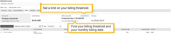 """die Registerkarte """"Abrechnung"""" - Konto mit späterer Zahlung und Abrechnungslimit"""