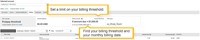 billing summary - postpay threshold account