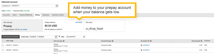 billing summary - prepay account
