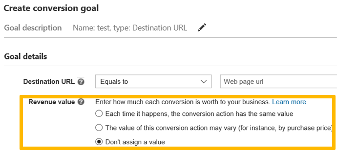 Conversion tracking menu