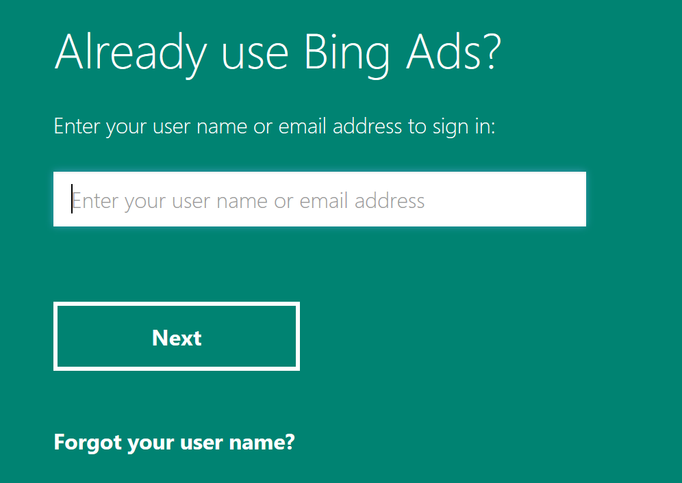 Login panel with box to enter email address or user name