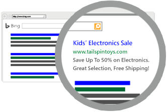 Ejemplo de un anuncio de texto que se muestra en una página de resultados de la búsqueda.