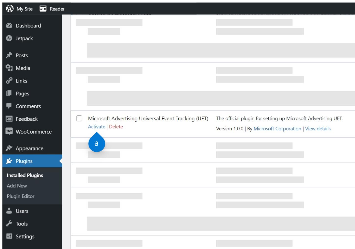 Activa el complemento de UET en Wordpress