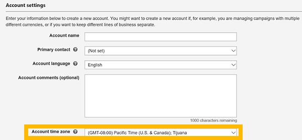 Configuración de la cuenta con la zona horaria resaltada