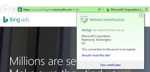 VeriSign en la barra de direcciones de Microsoft Advertising