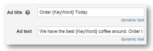 Texte dynamique du mot clé