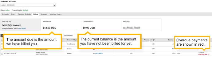Résumé de facturation - Compte avec facture mensuelle
