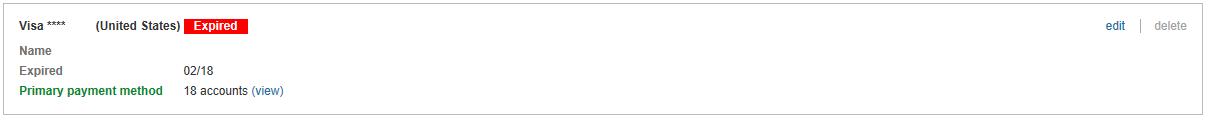 Moyen de paiement avec une étiquette indiquant «Expiré».