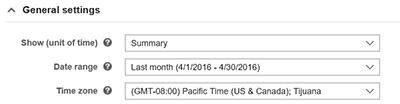 Page des rapports indiquant le fuseau horaire
