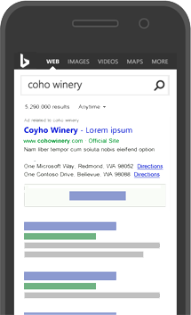 Esempio di annuncio di Bing in una pagina dei risultati di ricerca su smartphone