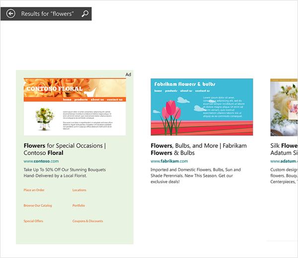 Esempi di annunci di Bing Smart Search