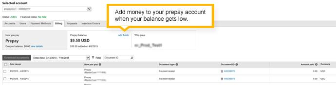riepilogo fatturazione - account con pagamento anticipato