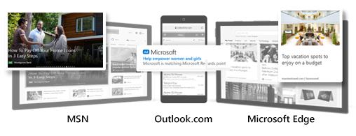 Comparação de exemplos de Anúncios de Audiência da Microsoft no MSN, no Outlook.com e no Microsoft Edge