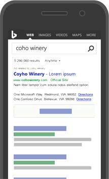 Exemplo de anúncio di Bing em uma página de resultados de pesquisa de smartphone