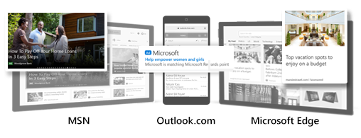 範例 Microsoft 客群廣告同時刊登在 MSN、Outlook 與 Edge 時的比較