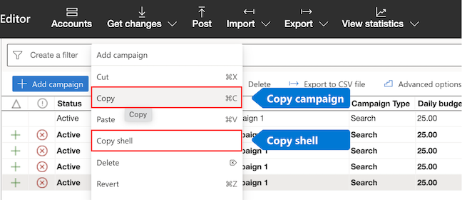 """Wählen Sie im Menü entweder """"Kopieren"""" oder """"Shell kopieren"""" aus."""
