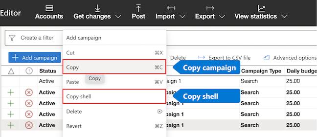 Scegliere Copia o Copia shell dal menu.